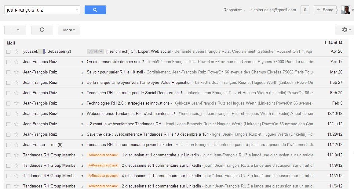 Recherche Gmail simple