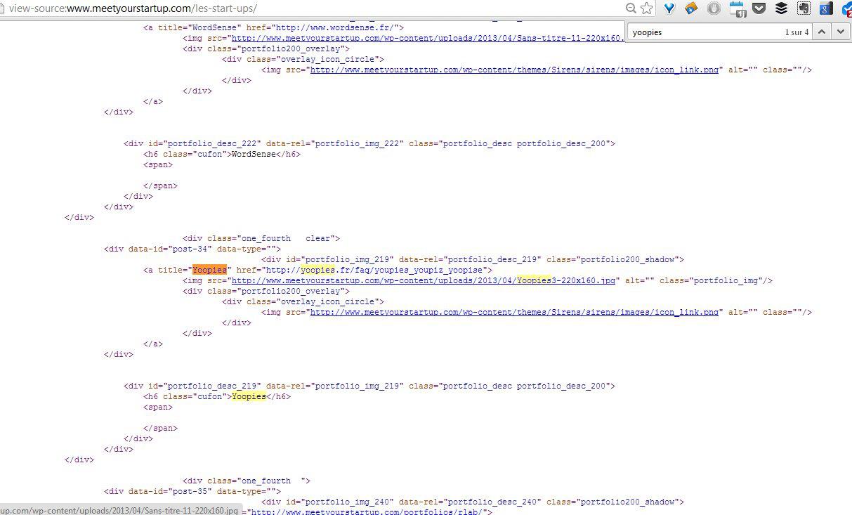 Le Scraping - Code source Yoopies