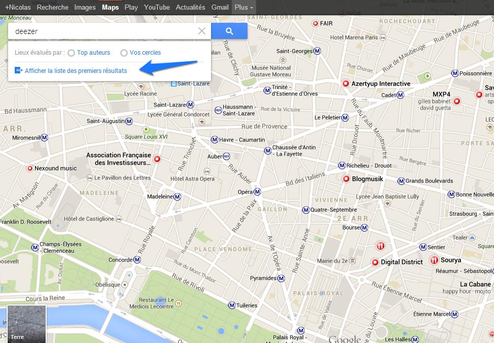 Trouver un numéro de téléphone - Gmaps Deezer Bredouille nvlle interface 1