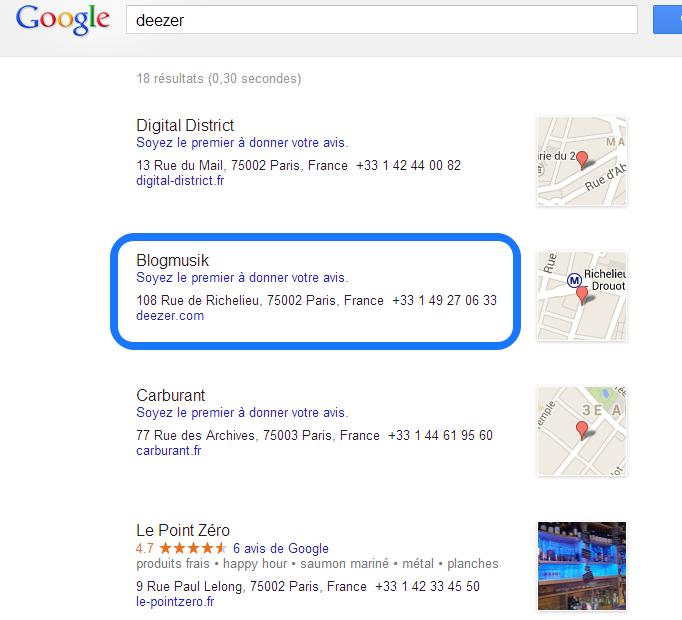 Trouver un numéro de téléphone - Gmaps Deezer Bredouille nvlle interface 2