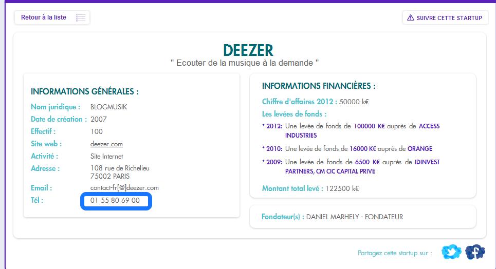 Trouver un numéro de téléphone - MyFrenchStartup Deezer