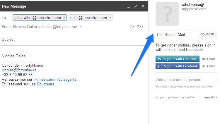 email round 2 rapportive profil négatif