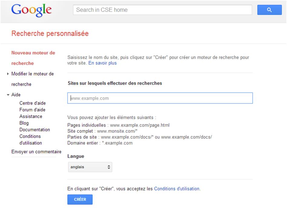 Google CSE - Accueil