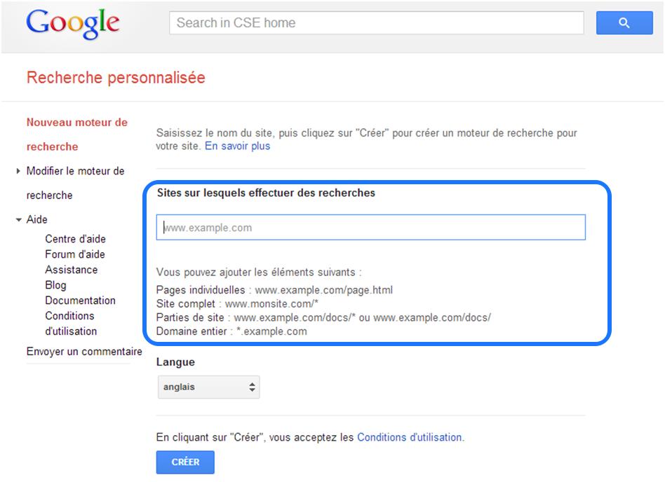 Google CSE - Ajouter les URL