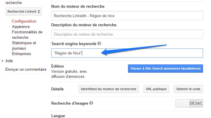 Google CSE - Ajouter un mot-clé