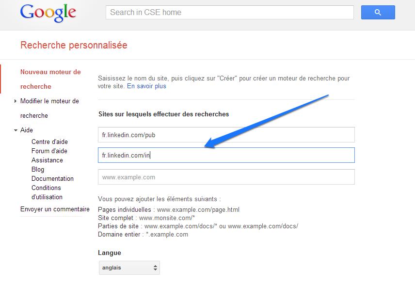 Google CSE - Ajouter vraiment les URL