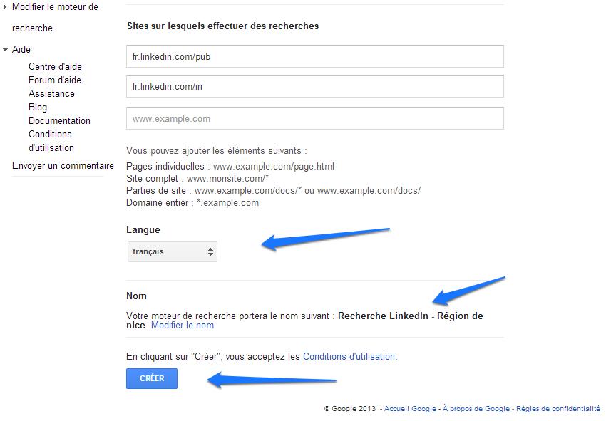 Google CSE - Bouton Créer