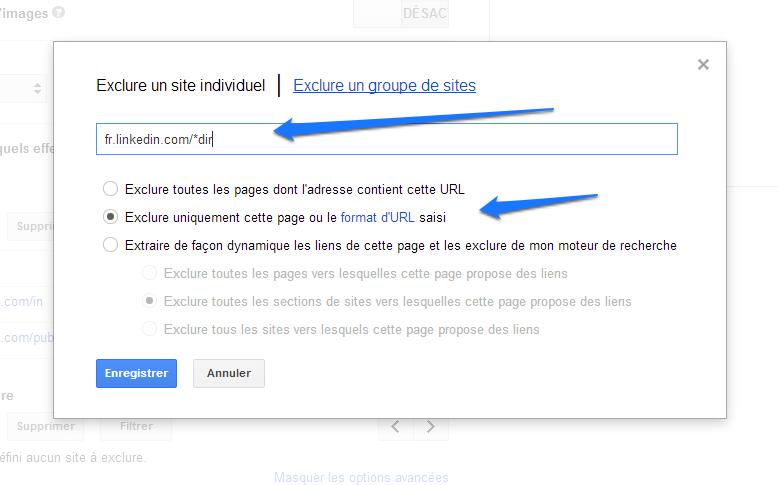 Google CSE - Exlure des URL