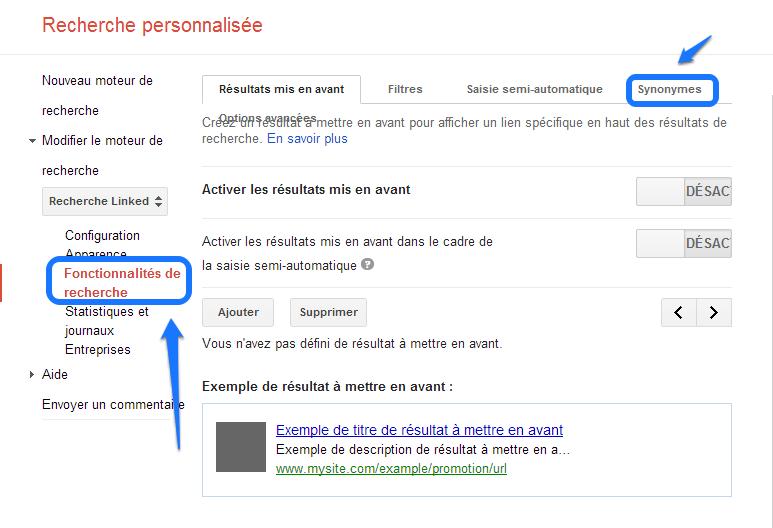 Google CSE - Les Synonymes