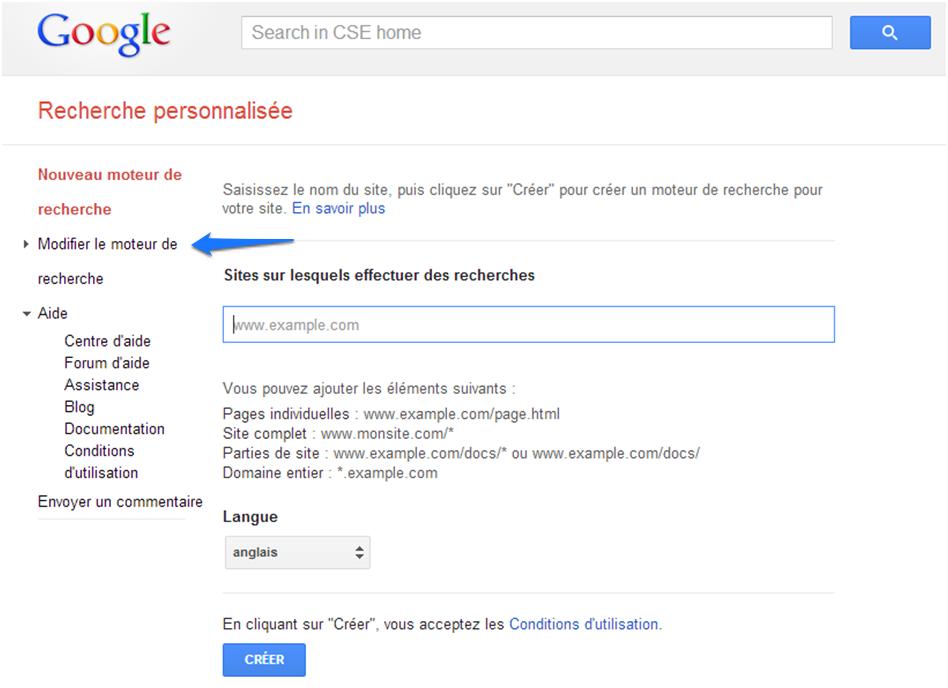 Google CSE - Modifier le moteur de recherche