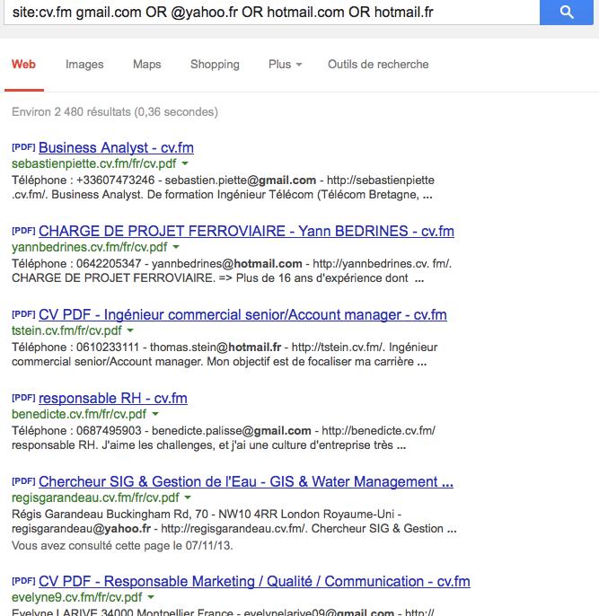 Easy-cv recherche site email