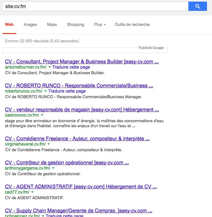 Easy-cv recherche site
