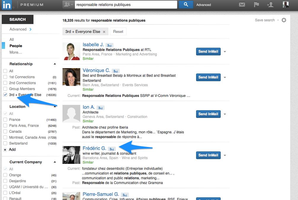 Trouver un nom complet LinkedIn 2 - Chercher un nom incomplet