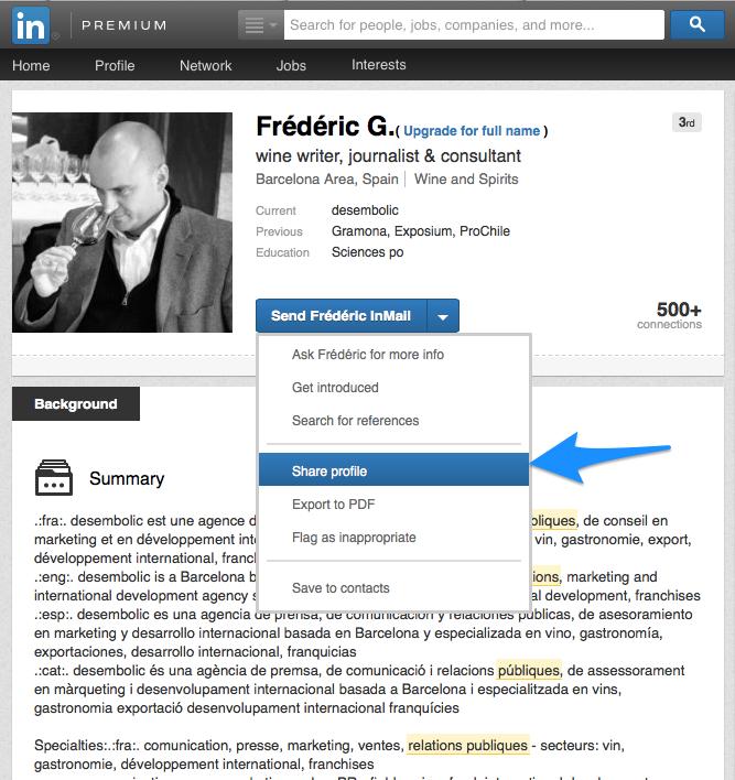 Trouver un nom complet LinkedIn 2 - Partager un profil