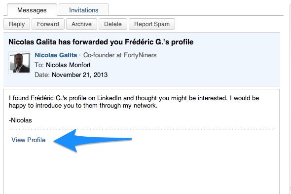 Trouver un nom complet LinkedIn 2 - Recevoir le profil partagé