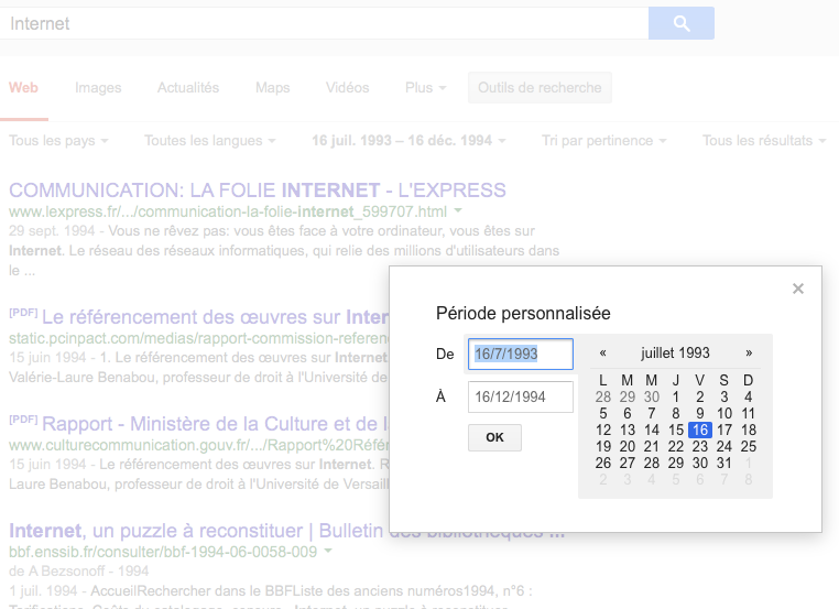Internet_-_Recherche_Google - Période personnalisée année 1994