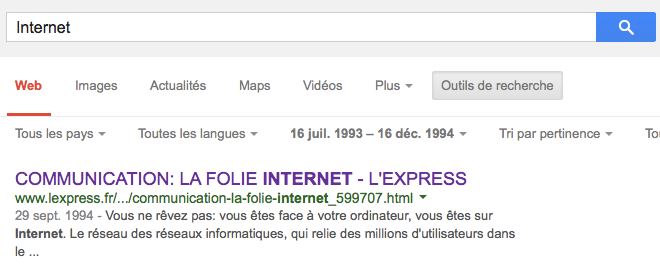 Internet_-_Recherche_Google- premier article 1994 Express